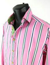Robert Graham Mens Shirt Sz M Pink Green Purple Striped Long Sleeve Button Front