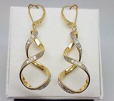 Stunning 9ct Gold Moondust Twirl Drop Earrings.  Goldmine Jewellers.