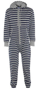 UNISEX NEW STRIPED JUMPSUIT HOODED ZIP ONE PIECE PLAYSUIT ALL IN ONE 4 SIZES