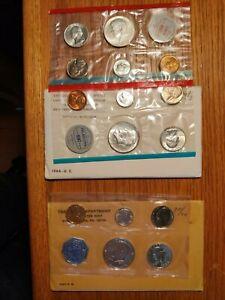 1964 PRF. 1964 UNC. P&D U.S. SILVER UNC. & PROOF COIN 2-SETS
