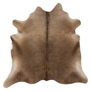 Genuine Alpen Mocha Cowhide Rug - Soft Silky - Hypoallergenic - Easy To Clean