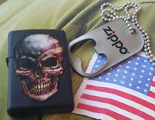 Zippo American Flag Skull Face Zippo and Dog Tags Bottle Opener RARE