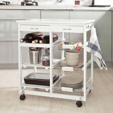 SoBuy® Servierwagen, Küchenwagen, Rollwagen m.Schublade,weiß,FKW04-W