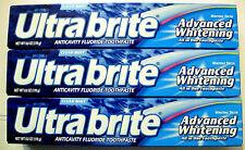 3 ULTRABRITE Advanced Whitening Anticavity Flouride Toothpaste 6oz Clean Mint