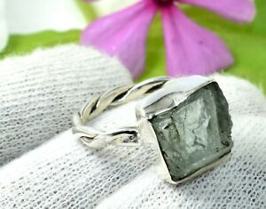 Manufacturer Handmade 925 Sterling silver Raw Rough Stone Ring Size 6 DKU-479