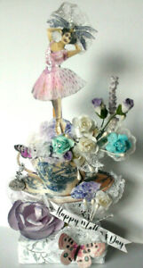 MOTHER'S DAY altered art mixed media Vintage reproduction mom IN A TEACUP  OOAK