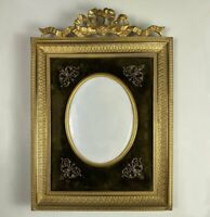 "Antique 19th c. French Dore 7""+ Bronze Bow Top Frame, Appliques, Convex Glass"
