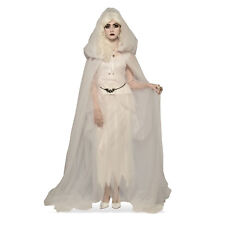 Women's White Hooded Mesh Long Costume Cape Halloween Witch Ghost Ghoul Gothic