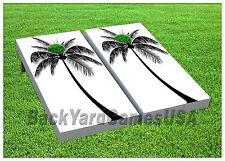 Palm Tree Cornhole Beanbag Toss G 00004000 Ame w Bags Game Board White Black Set 616