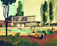 Mid Century Modern Art Print, 1960's Motel Pool Scene, Art Deco Decor