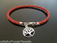 3mm Red Braided Leather Bracelet With 925 Sterling Silver Tree Of Life Charm