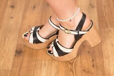 70s Vintage style cream & black wooden platform heels River Island size 7