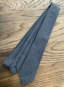 Brunello Cucinelli Slim Tie Classic Grey Lined 100% Wool Italy $225