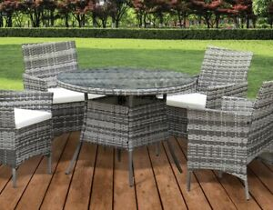 Rattan 5 Piece Garden Dining Patio Set Outdoor Furniture Chair Cushions Included