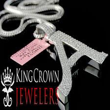 "14k White Gold On Silver Initials Letter Alphabet ""A"" Pendant Simu Diamond Charm"