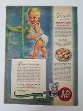 1948 A&P White House evaporated milk cream puffs recipe baby diaper ad