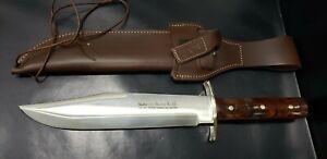 Large Linder Cocobolo Wood 440 Bowie Knife w/ Sheath, Unused