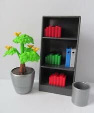 Playmobil Dollshouse/School/Office furniture: Shelves, books, files & plant NEW