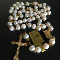 CATHOLIC GOLD 8MM REAL PEARL BEADS NECKLACE ROSE ROSARY CROSS CRUCIFIX GIFT BOX