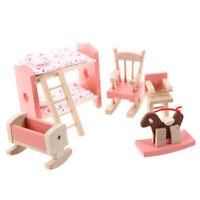 Holz Moebel Zimmer Set fuer Puppenhaus Kinder Spielzeug V7G3