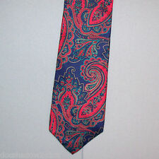 Morgan Hart NAVY BLUE RED Paisley Silk Neck Tie made in USA #231