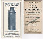 2 1890s FIREFIGHTING EQUIPMENT BROCHURES CLARK'S HOSE UNDERWRITER EXTINGUISHERS
