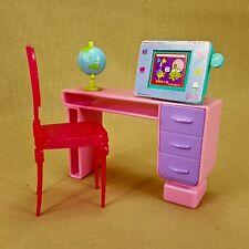 Barbie Office Student Desk w Computer Drawer Chair & Spinning Globe Mattel 2007