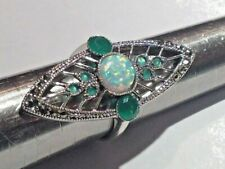 Emerald Fire 7 Ice opal Cocktail Statement Ring Sterling Silver Size Q