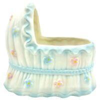"Vintage Inarco Japan Ceramic Baby Bassinet 5"" Planter Pink Blue Nursery Decor"