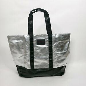 Victorias Secret Tote Shoulder Bag Silver Black Shiny Large