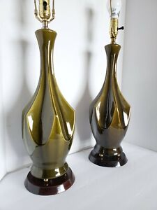 Pair Mid Century Modern Olive Green Ceramic Table Lamps Brasilia Vtg. *31""
