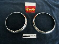 WILLYS KAISER AMC JEEP CHROME HEADLAMP BEZELS (PAIR) 1948 - 1971 NEW NICE!