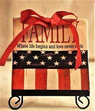 """Family Where life begins & love never ends"" on Us Flag, Nwt 6� Tile w/Easel"