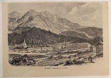ST. MORITZ. SCHWEIZ. Originaler Holzstich von ca. 1880