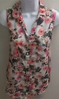 Top Blouse medium m sheer sleeveless floral print casual womens pink brown
