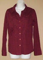 Womens Size Medium Long Sleeve Crimped Embroidered Red Floral Spring Top Shirt