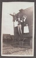 VINTAGE EARLY 1900's RAILROAD CONDUCTOR HAT TRAIN CAR WOMEN & MEN POSE OLD PHOTO