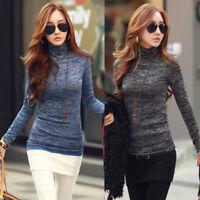 Womens Long Sleeve High Neck Autumn Sweater Pullover T-Shirt Blouse Top Shirt