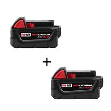 (2) GENUINE New 18V Milwaukee 48-11-1850 5.0 AH Batteries M18 XC18 48-11-1852