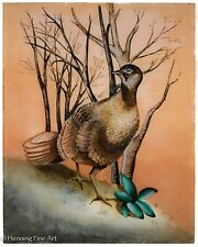 Martha Mignonne Ryther Original Reverse Glass Painting of Pheasant Signed & FINE