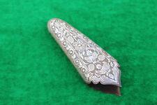 v.v rare old antique silver damascened Ottoman Shamshir Karabela Kilij chape/tip