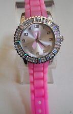 Geneva Pink Ribbon Breast Cancer Awareness Silicone Rhinestone Watch