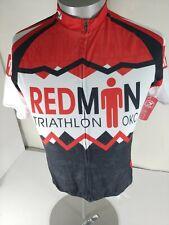 SUGOI Men's Large Redman Triathlon OKC 3 Pocket Full Zip SS Cycling Jersey