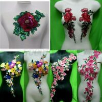 Embroidered Rose Flower Motif Collar Sew on Lace Patch Applique Bust Dress