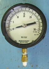 """ASHCROFT LOW-PRESSURE BRASS BELLOWS GAUGE 0 TO 30"""" 4 1/2 INCH FACE"""