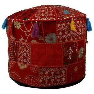 Ottoman Cover Indian Patchwork Handmade Vintage Round Footstool Ethnic Pouf