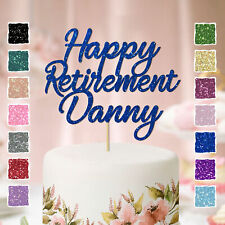 Personalised Glitter Custom Name Happy Retirement Cake Topper Party Decoration