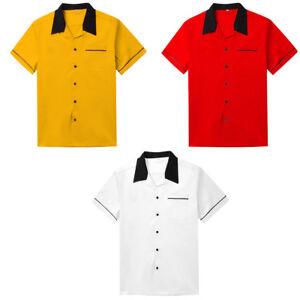 Male Retro Bowling Shirt Rockabilly Cargo Shirt Hip Hop Blouse Yellow Red White