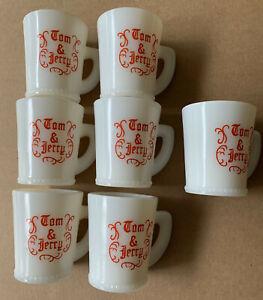 "Set Of 7 Vintage McKee Tom & Jerry Beaded Milk Glass 3-1/2"" Cups Mugs 1940 - 51"