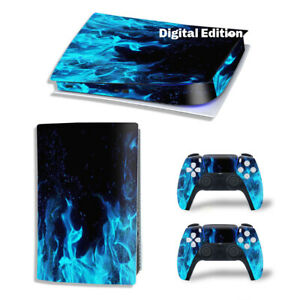 For PS5 Digital Edition Console & 2 Controller Blue Flame Vinyl Wrap Skin Decal